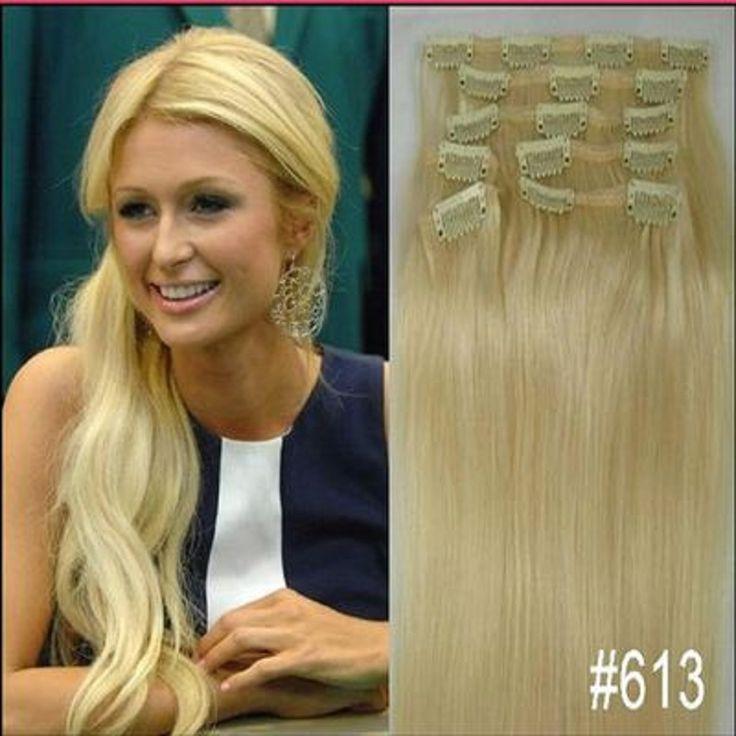 """Gratis verzending 16 """"-32"""" 8 stks Set #613 Blond Haar Stukken Zachte Indian Remy haar Clip in/op Menselijk Haar Extenions 120g 140g 160g"""
