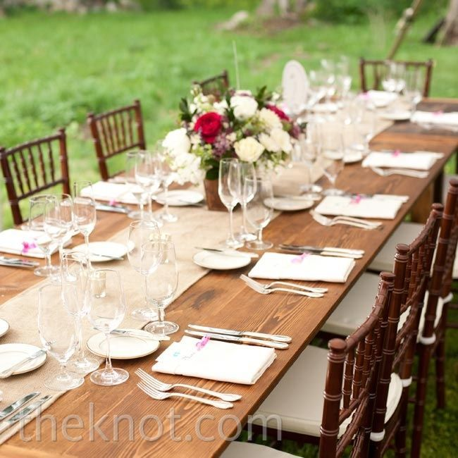 farm table wedding decorations | Brown Reception Decor- simple, long farm tables and burlap runners ...