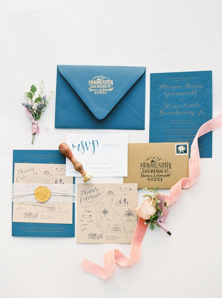 Rustic Glam Wedding Invitation Suite gold letterpress on navy paper with a hand illustrated map of Denver, leafy accents, & a gold wax seal
