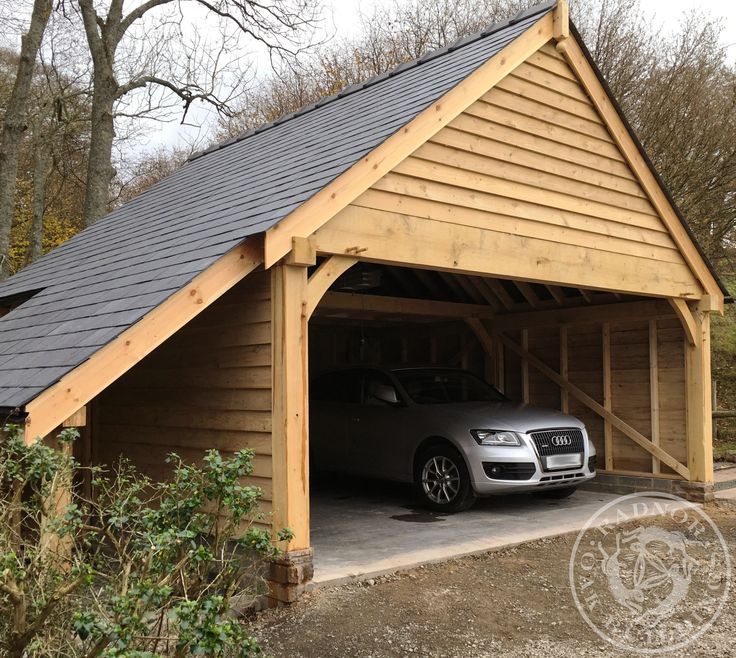 Double Oak Framed Carport with additional space above fore