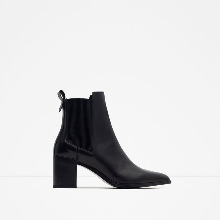 BLOCK HEEL LEATHER ANKLE BOOTS WITH STRETCH DETAIL-Ankle boots-Shoes-WOMAN | ZARA United States