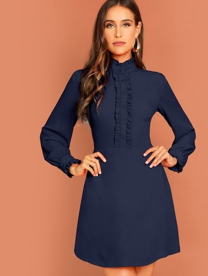 Shop Button Front Ruffle Detail Solid Dress online. SheIn offers Button  Front Ruffle Detail Solid 42747796618f