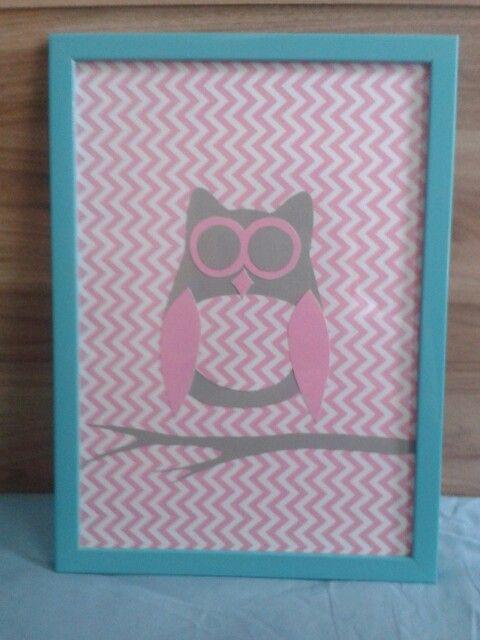 Scrapbookingowa sowa. Obrazek do pokoju dziecięcego. #owl