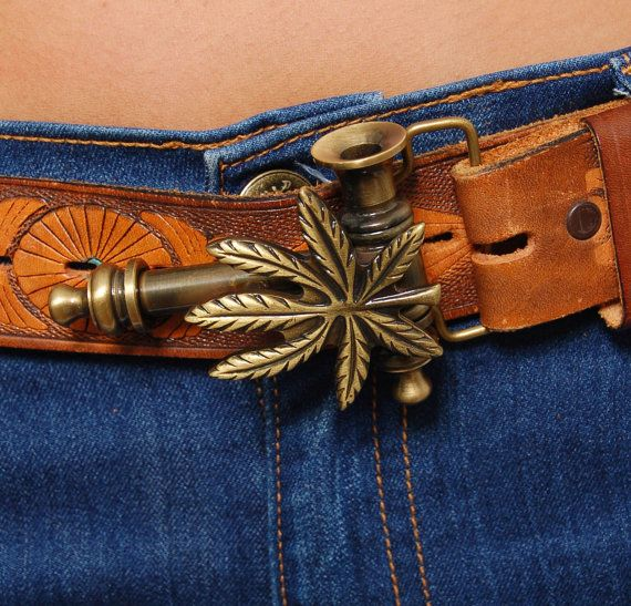 Vintage Pot Pipe Belt Buckle Marijuana Leaf Buckle Brass