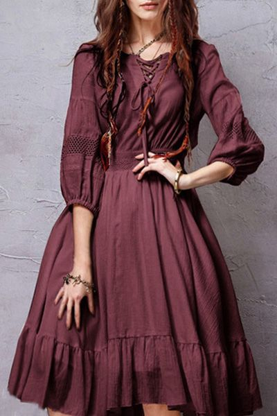 3/4 Sleeve Crochet Spliced Flare Dress