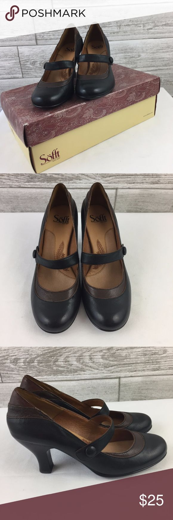 SOFFT 6.5 Mary Jane Pumps Heels Black & Brown Leat SOFFT 6.5 Mary Jane Pumps Heels Black & Brown Leather Shoes Buckle EUC w/box  Worn 1x Sofft Shoes Heels