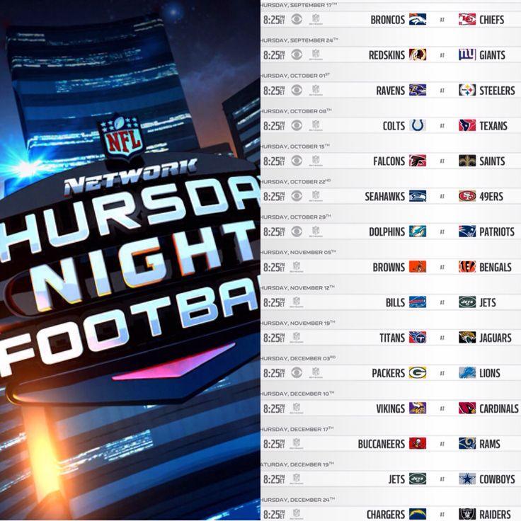2015 NFL NETWORK/CBS THURSDAY NIGHT FOOTBALL SCHEDULE