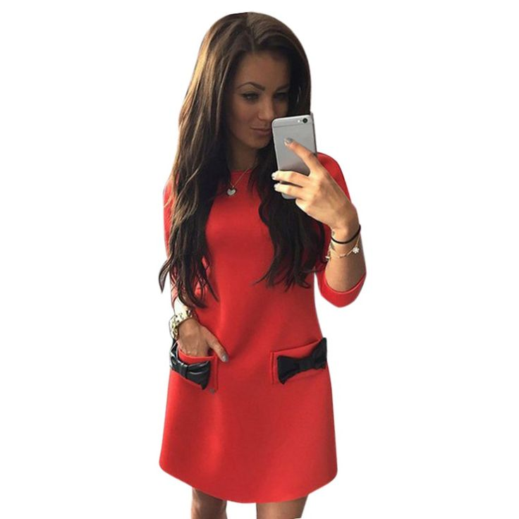 Women Bow Mini Dresses Winter Straight Casual 3/4 Sleeves Solid Dress Vestido