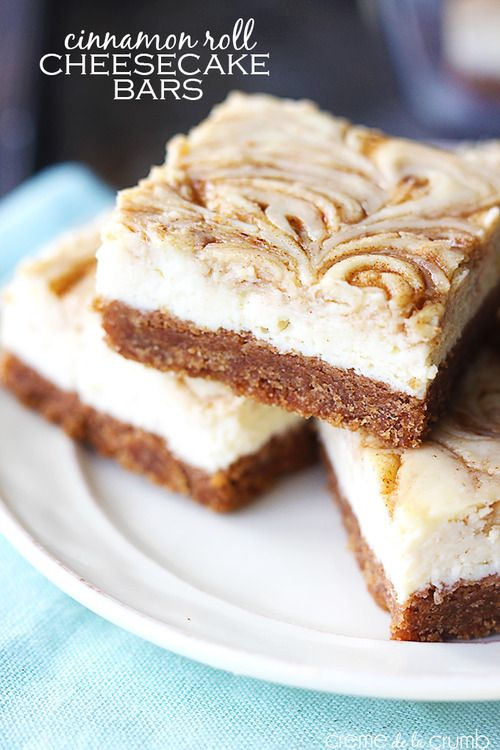 Another delicious cheesecake recipe! Cinnamon roll cheesecake bars.