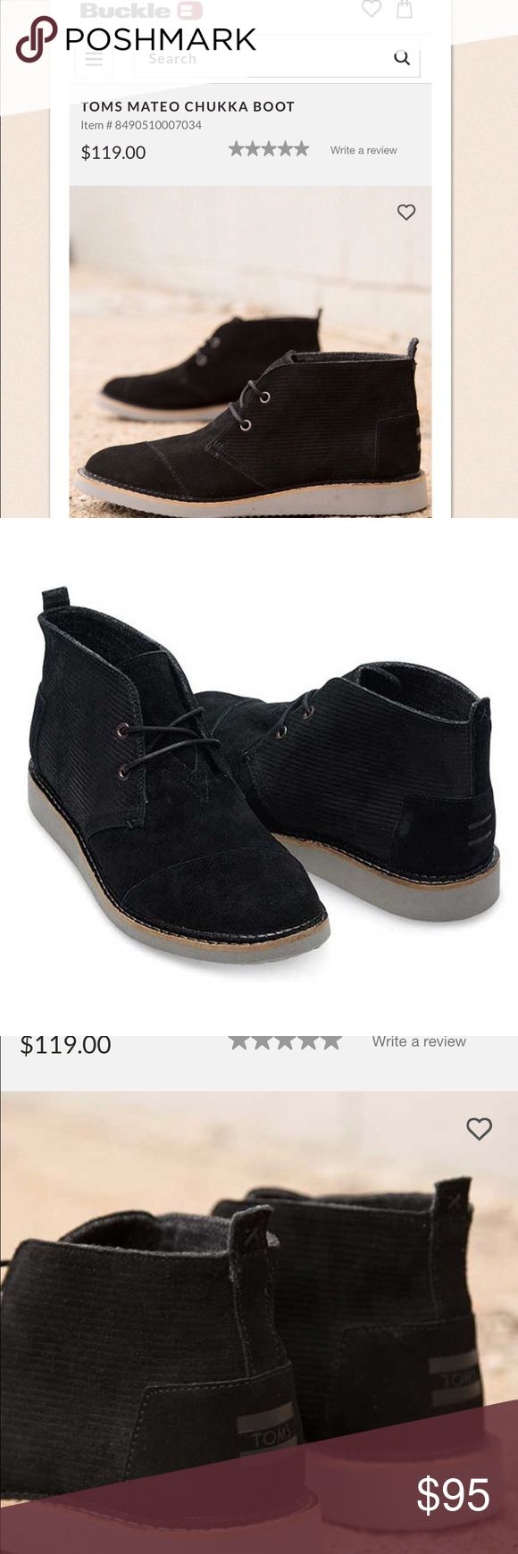 NWT!!!❤ Men's Black Suede TOMS Mateo Chukka Boot! NWT! Currently selling on Buckle for $119. Men's TOMS Mateo Chukka Boot size 9 with genuine black suede upper and EVA midsole and outsole. New and never worn. Come without the box. Super stylish! ❤️ TOMS Shoes Chukka Boots