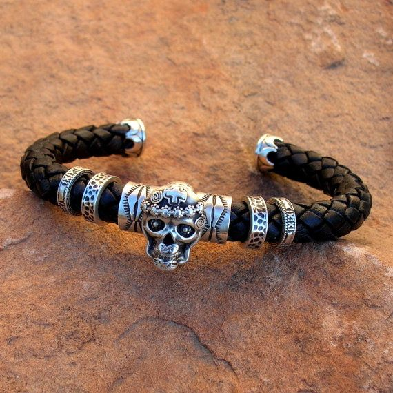 C28 Skull Sterling Silver on Braided Leather Southwestern Native Style Cuff