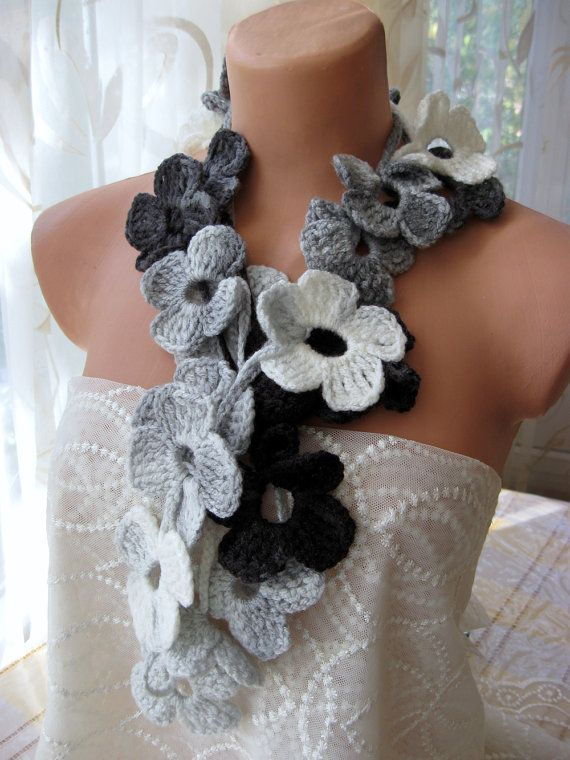 Hand Crochet Grey Black White Flower Lariat Scarf, either i need to learn to crochet or i need to have my mom make this!