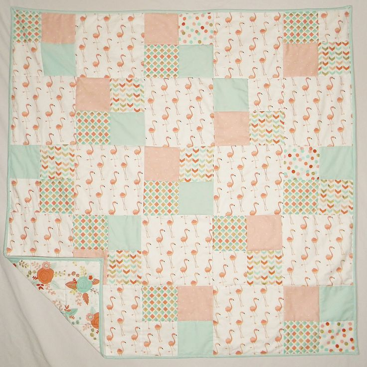 Ready to ship Flamingo Floral Baby Girl Blanket Bedding Quilt - Homemade Crib Nursery Blanket Gift - Aqua Coral Pink Gold by createdbymammy on Etsy