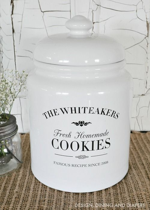 Personalized Cookie jar, fun gift idea!  Might be done with thrift store crock and sihlouette vinyl?