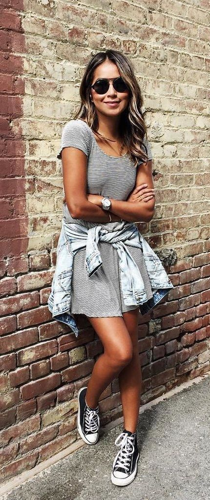 T shirt dress + denim jacket.