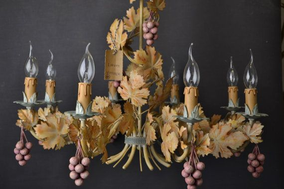Beautiful large painted chandelier with grapes (1406240)