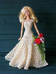 Svatební šaty Crafts Crochet Barbie Clothes And