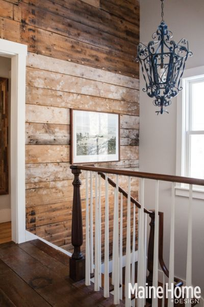 Gorgeous stairwell in Kennebunk, Maine farmhouse. Love the banister and spindles.
