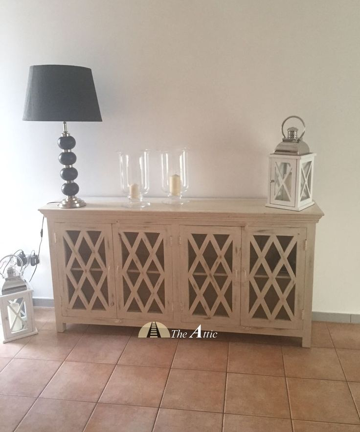 Diamond Paned Distressed White Sideboard In Mango Wood