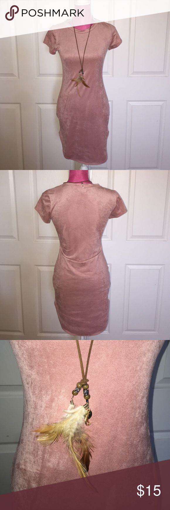 Blush faux suede mini Soft faux suede, short. Has some stretch to it. January 7 Dresses Mini