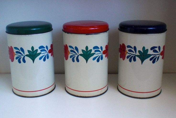 """TOMADO, Set of three Canisters, decor """"Boerenbont"""",Blue, Red, Green , made in Holland, vintage 1970 door VasioniVintage op Etsy"""