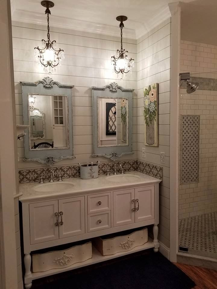 I Love The Sets Of Jars And The Use Of Mirrors To Add Space It Takes Two 10 Beautiful Bathro Bathrooms Remodel Bathroom Mirror Frame Unique Bathroom Mirrors