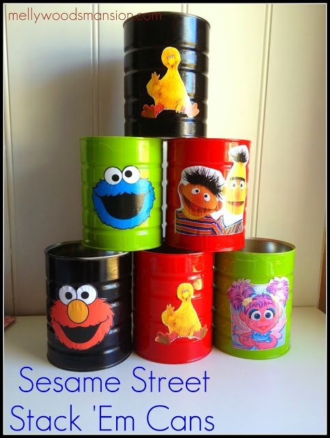 Sesame Street Cans - upcycle some cans and entertain the kids for hours.