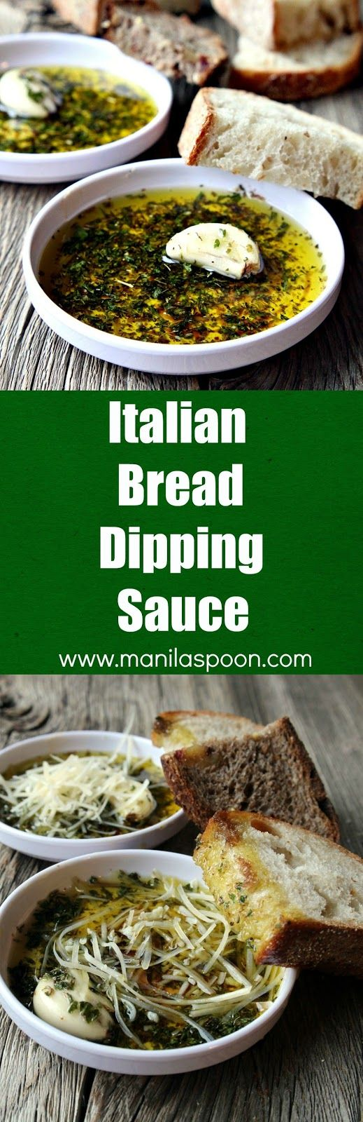 Restaurant-style olive oil dipping sauce with Italian herbs and balsamic vinegar perfect for dipping your favorite crusty bread. Mix it up with your favorite herbs and add a spicy kick to create your own flavor blend. Italian Bread Dipping Oil (Sauce) - Appetizer, Game Day, holiday| manilaspoon.com