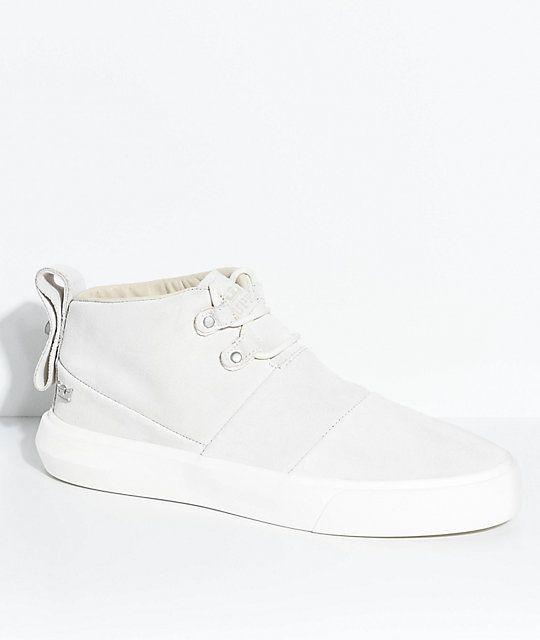 Supra Charles Off-White & Bone Suede Skate Shoes