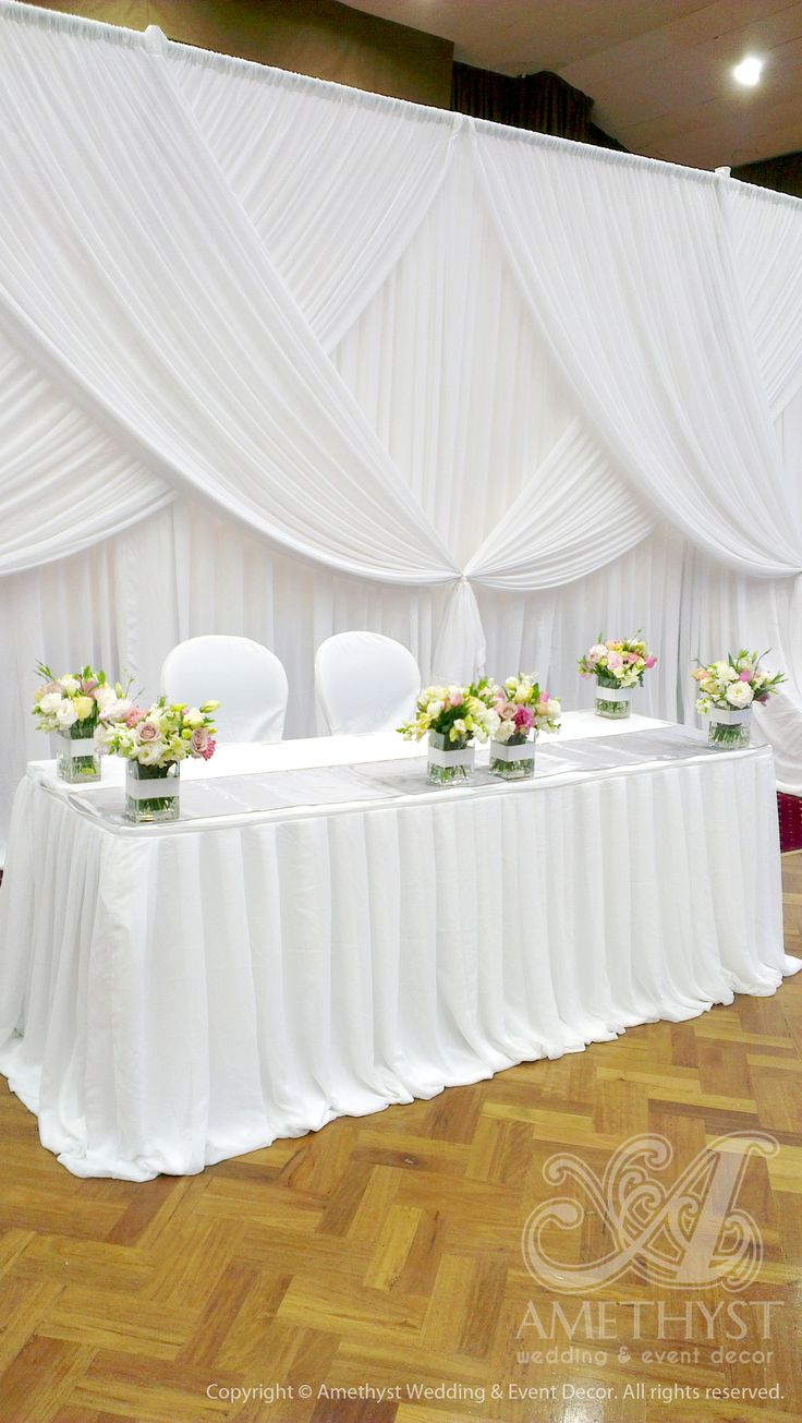 Buffet table skirting - Pleated Chiffon Bridal Table Skirting With Gorgeous Wedding Backdrop Criss Crossed Drapings
