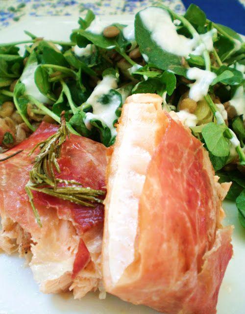 Salmão Embrulhado em Presunto de Parma e Salada de Lentilhas com Agrião do Jamie Oliver   Figos & Funghis
