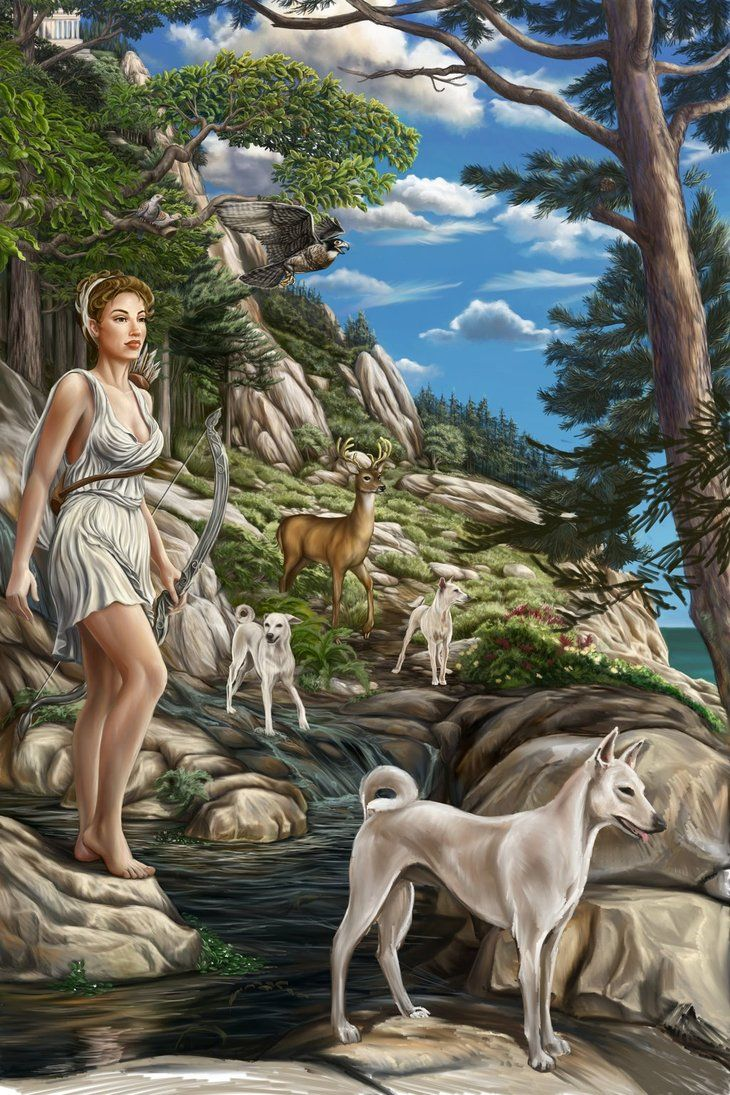 Artemis, virgin goddess of the hunt, the Moon, chastity, animals, and the wilderness