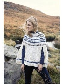 Irish Aran Cape with Fairisle Pattern