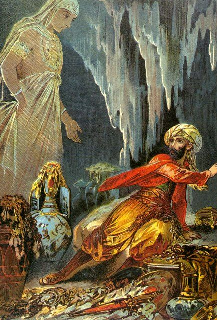 Vintage Graphic Illustration Aladdin Abrabian Nights Genie treasure three wishes via Etsy