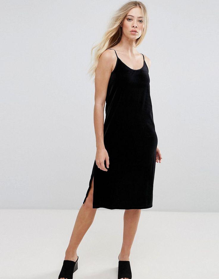 b.Young Velvet Slip Dress - Black