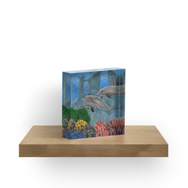 acrylic block, home,office,accessories,fantasy,decor,items,cool,beautiful,fancy,unique,trendy,artistic,awesome,fahionable,unusual,gifts,presents,for sale,design,ideas,aqua,blue,dolphins,wildlife,ocean,redbubble