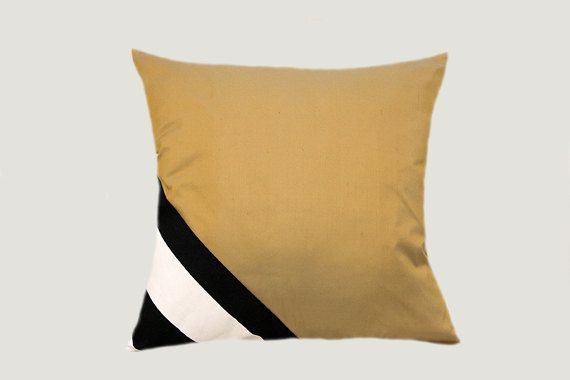 decorative pillow thick cotton black white and gold silk. Black Bedroom Furniture Sets. Home Design Ideas