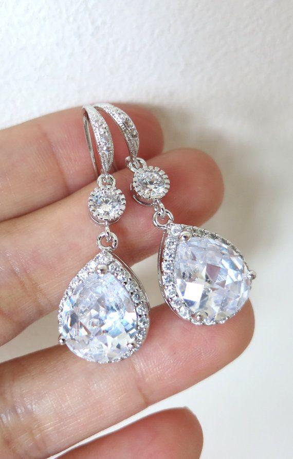 Luxe Cubic Zirconia Teardrop Gold Earrings, Halo Style, Bridal Earrings, Bridesmaid earrings, Champagne gold weddings, jewelry