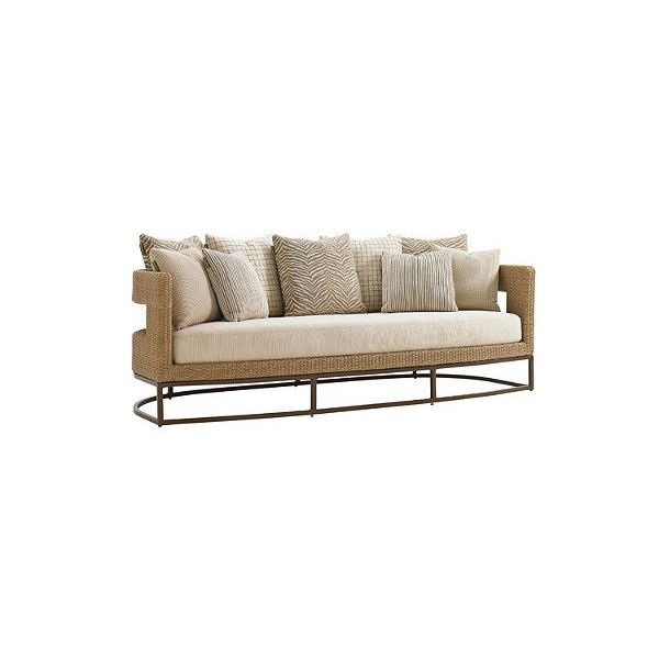 Tommy Bahama Aviano Scatterback Sofa - Archipelago Sky (33.730 HRK) ❤ liked on Polyvore featuring home, outdoors, patio furniture, frontgate, tropical outdoor furniture, all weather outdoor furniture, woven patio furniture and all weather patio furniture