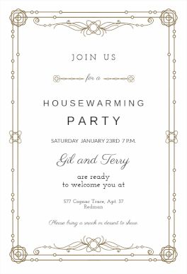 33 best housewarming party invitations images on pinterest classic border printable invitation template customize add text and photos print download stopboris Gallery