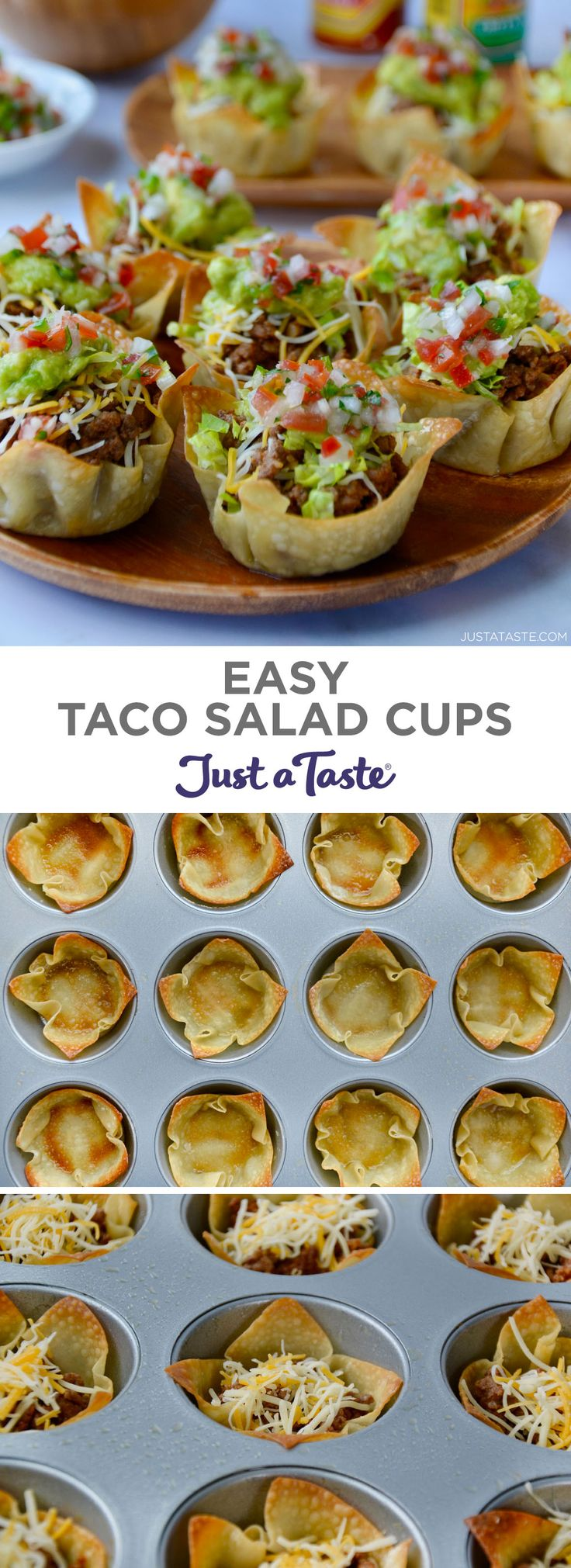 Easy Taco Salad Cups are the perfect party food! They're finger-friendly, can be…