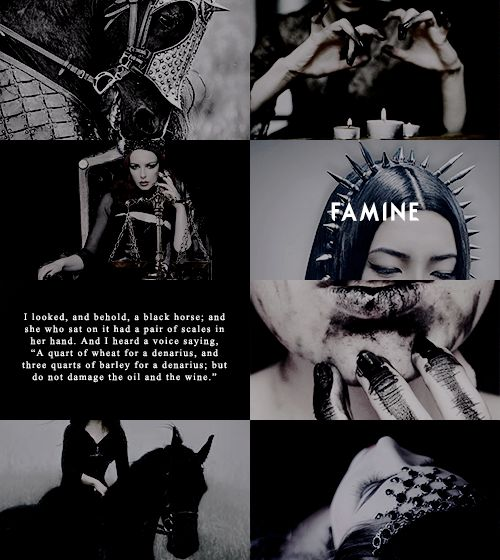 "pxrsephonie: "" ""mythology meme: five relationships ≡ the four horsemen; "" Authority was given to them over a fourth of the earth, to kill with sword and with famine and with pestilence and by the wild beasts of the earth. """