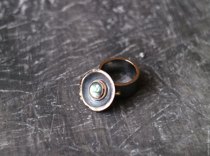 Купить -ВС- кольцо (лабрадорит, серебро, золото) - кольцо с лабрадоритом, авторское кольцо, крупное кольцо