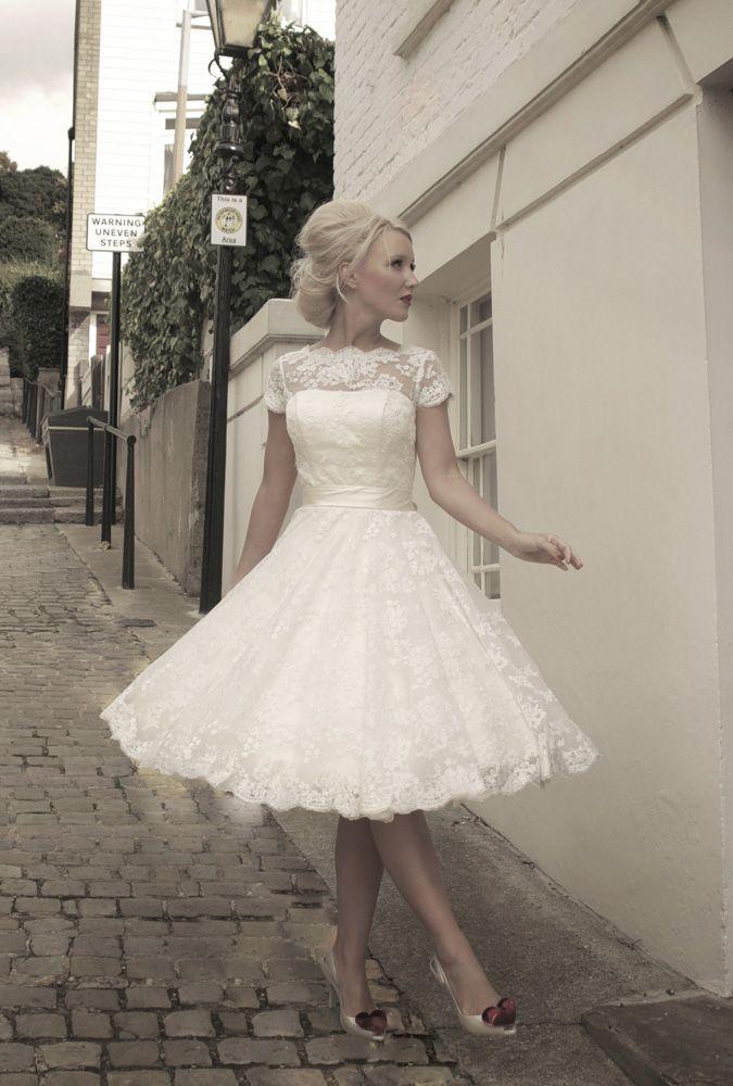 Tea length wedding dress. would look great on @Laura Jayson Jayson Jayson Jayson Jayson Kime