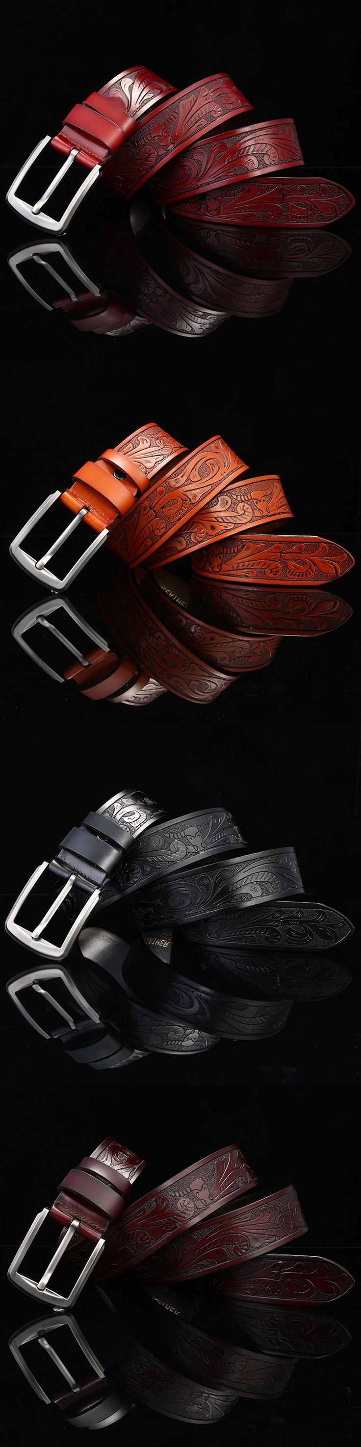 2017 Genuine Leather Men Luxury Belt for Jeans Fashion Floral Carved Strap Male Cowhide Cowboy Belts Quality Guarantee XN014