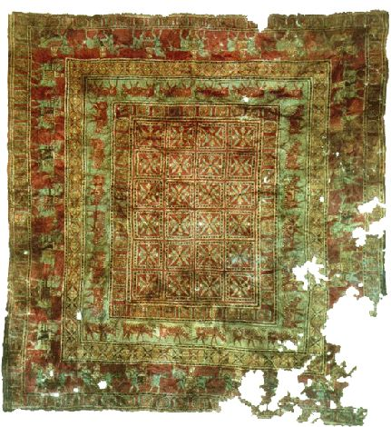 Pazyryk - Oldest Rug Ever Discovered Anatolian with a pile and Turkish knots. Its age is proven to be around 2500 years old.