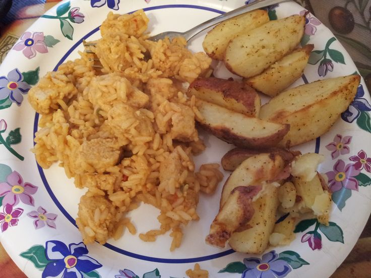 Jambalaya with Morningstar Farms chick'n strips and Cajun red poatoes