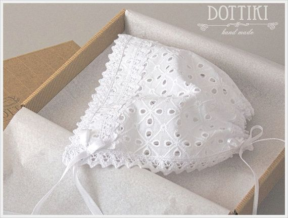 White Cotton Baby Bonnet Cotton Bonnet Children Bonnet Baby #babybonnet, #newbornbonnet, #dottiki