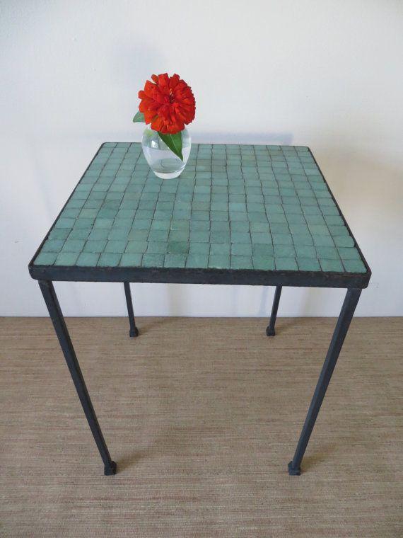 Vintage Mid Century Modern Mosaic Jade Green Tile Wrought