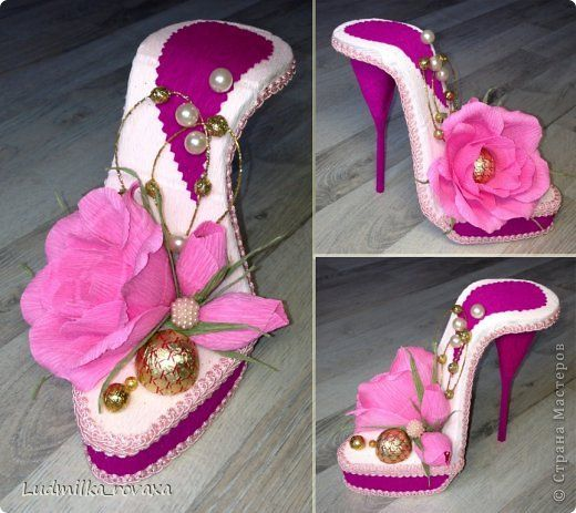 Свит-дизайн 8 марта День рождения Моделирование конструирование Новая коллекция туфелек   Бумага гофрированная фото 7
